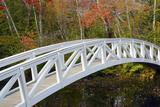 White Footbridge, Autumn, Somesville, Mount Desert Island, Maine, Usa Photographic Print by Michel Hersen