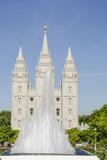 Fountain with Salt Lake Temple, Temple Square, Salt Lake City, Utah Photographic Print by Michael DeFreitas