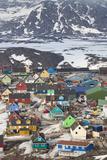 Greenland, Disko Bay, Ilulissat, Elevated Town View Reproduction photographique par Walter Bibikow