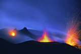 Italy, Stromboli. Long Exposure Image of Three Eruptions at Night Photographic Print by David Slater