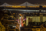 Looking Down onto Broadway and Bay Bridge from Russian Hill at Night in San Francisco, California Photographic Print by Chuck Haney
