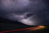 Colorado, Upper Arkansas River Valley. Lightning Stormover Vehicle Light Track Photographic Print by Jaynes Gallery