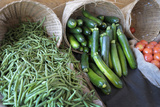 Canada, British Columbia, Cowichan Valley. Green Beans and Zucchini in Wicker Baskets Photographic Print by Kevin Oke