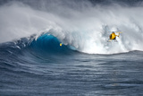 Hawaii Maui. Helicopter Crew Filming Kyle Lenny Surfing Monster Waves at Pe'Ahi Jaws Photographic Print by Janis Miglavs