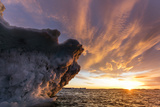 Canada, Nunavut Territory, Setting Midnight Sun Lights Clouds Above Melting Iceberg Photographic Print by Paul Souders