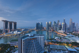 Singapore, City Skyline Elevated View Above the Marina Reservoir, Dawn Photographic Print by Walter Bibikow