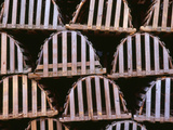 Canada, Newfoundland, Trout River, Tidy Stack of Wooden Lobster Traps Photographic Print by John Barger