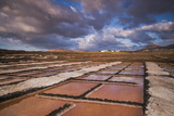 Spain, Canary Islands, Lanzarote, El Golfo, Salinas De Janubio, Salt Evaporation Pans, Sunset Photographic Print by Walter Bibikow