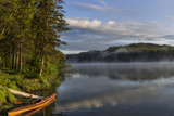 Sunrise with Kayak on Beaver Lake in the Stillwater State Forest Near Whitefish, Montana, Usa Photographic Print by Chuck Haney