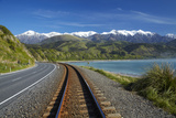 Road, Railway, and Seaward Kaikoura Ranges, South Island, New Zealand Photographic Print by David Wall