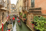 Gondola Traffic in Narrow Canal. Venice. Italy Photographic Print by Tom Norring