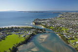 Orewa, Orewa River, and Red Beach, Hibiscus Coast, North Auckland, North Island, New Zealand Photographic Print by David Wall