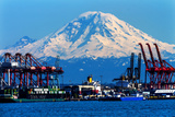 Seattle Port with Red Cranes and Ships Barges Pier and Dock Mt Rainier in the Background Photographic Print by William Perry