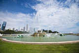 Illinois, Chicago, Grant Park, Buckingham Fountain and Loop Skyline Background Photographic Print by Bernard Friel