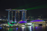 Singapore, Elevated View of the City with Evening Laser Show Photographic Print by Walter Bibikow