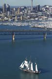 Spirit of New Zealand Tall Ship, Auckland Harbour Bridge, Auckland, North Island, New Zealand Photographic Print by David Wall