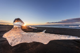 Scattered Ice from Icebergs on Black Sand Beach at Joklusarlon, Iceland Photographic Print by Chuck Haney