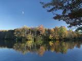 Crescent Moon Hangs over Price Lake, Blue Ridge Parkway, North Carolina, Usa Photographic Print by Tim Fitzharris
