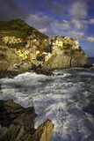 Swirling Ocean at the Foot of Medieval Town of Manarola in the Cinque Terre, Liguria Italy Photographic Print by Brian Jannsen