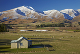 Old Farm Buildings and Kakanui Mountains, Maniototo, Central Otago, South Island, New Zealand Photographic Print by David Wall