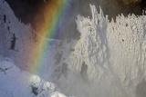 Skogafoss in Winter with Rainbow in Skoga, Iceland Stampa fotografica di Chuck Haney
