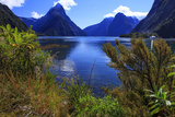 Looking across the Waters of Milford Sound Towards Mitre Peak on the South Island of New Zealand Reproduction photographique par Paul Dymond