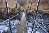 A Long Suspension Bridge over a River on the Fox Glacier Track, Wanaka, South Island, New Zealand Reproduction photographique par Paul Dymond