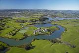 Drury Creek, Acg Strathallan College, and Farmland, Karaka, Auckland, North Island, New Zealand Photographic Print by David Wall