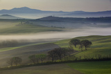 Misty Dawn over the Tuscan Countryside Near San Quirico D'Orcia, Tuscany, Italy Photographic Print by Brian Jannsen