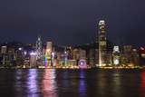 Hong Kong, China. Skyline Harbor with New Ferris Wheel and Reflections , Background Photographic Print by Bill Bachmann