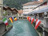 Switzerland, Bern Canton, Unterseen, Flag Display Photographic Print by Jamie And Judy Wild