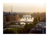 Bridges over the Seine river, Paris Print by Michel Setboun