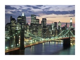 Brookyn bridge and Downtown skyline, NYC Prints by Michel Setboun
