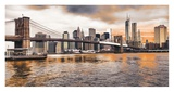 Brooklyn Bridge and Lower Manhattan at sunset, NYC Prints by  Pangea Images