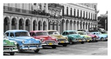 Cars parked in line, Havana, Cuba Art by  Pangea Images