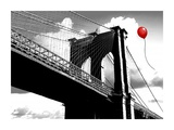 Balloon over Brooklyn Bridge Prints by  Masterfunk collective