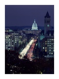 Dusk view of Pennsylvania Avenue, America's Main Street in Washington, D.C. Print by Carol Highsmith
