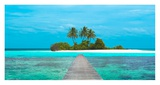 Jetty and Maldivian island Print by  Pangea Images