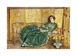 April: The Green Gown Premium Giclée-tryk af Frederick Childe Hassam
