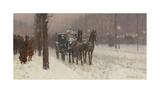 Street Scene with Hansom Cab, 1887 Giclée-Premiumdruck von Frederick Childe Hassam