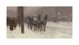 Street Scene with Hansom Cab, 1887 Premium Giclee Print by Frederick Childe Hassam
