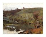A quiet day on Darebin Creek Reproduction giclée Premium par Tom Roberts