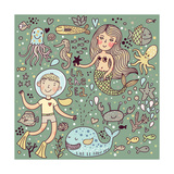 Cartoon Vector Set about Sea-Life Posters by  smilewithjul