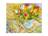 Tulips and Daffodils with Patterned Textiles, 2000 Giclee Print by Joan Thewsey