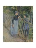 Conversation Reproduction giclée Premium par Camille Pissarro