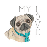 Puppy Love Pug Color Prints by Elyse DeNeige