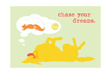 Chase Dreams - Green & Yellow Version Art by  Dog is Good