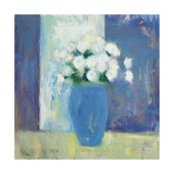 Ranunculi in Blue Vase White Flowers Art by Michael Clark