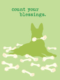 Count Blessings - Green Version Plastic Sign by  Dog is Good