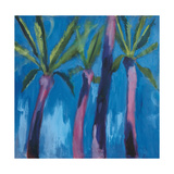 Palm Trees with Pink Print by Michael Clark